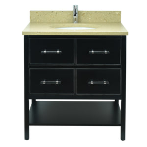 "30"" Black Gemma Vanity with Royal Brown Quartz"