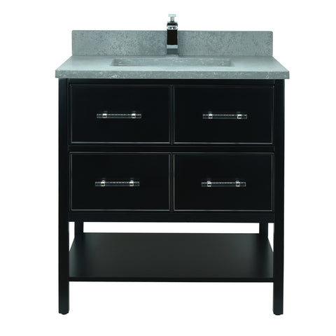 "30"" Black Gemma Vanity with Concrete Leather Quartz"