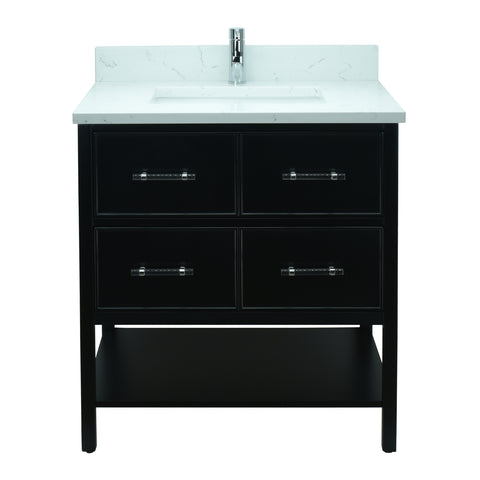 "30"" Black Gemma Vanity with Carrera Quartz"