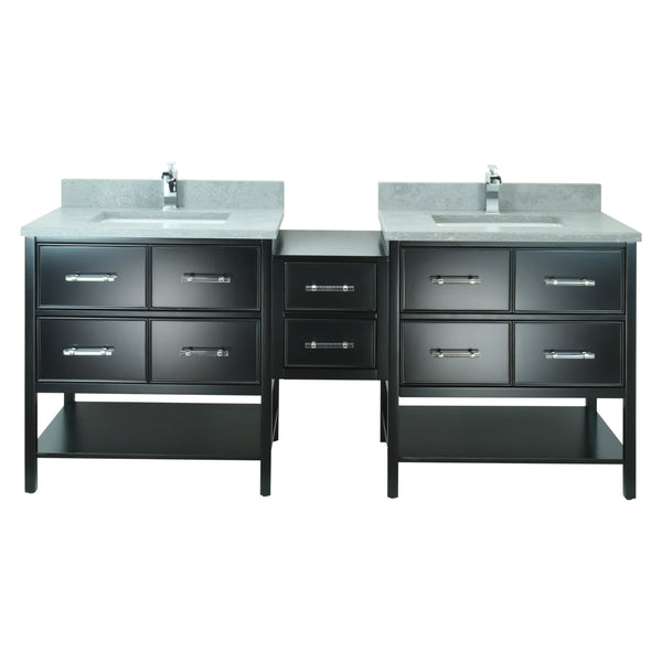 "86"" Black Gemma Vanity with Concrete Leather Quartz"