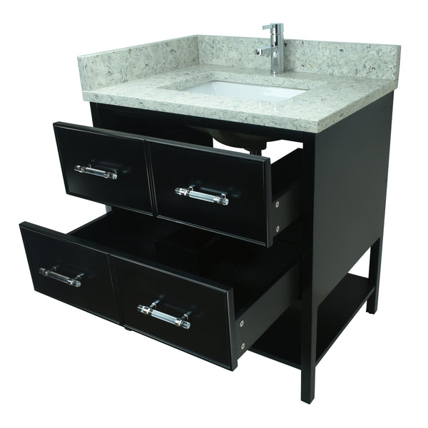 "30"" Black Gemma Vanity with Topaz Quartz"