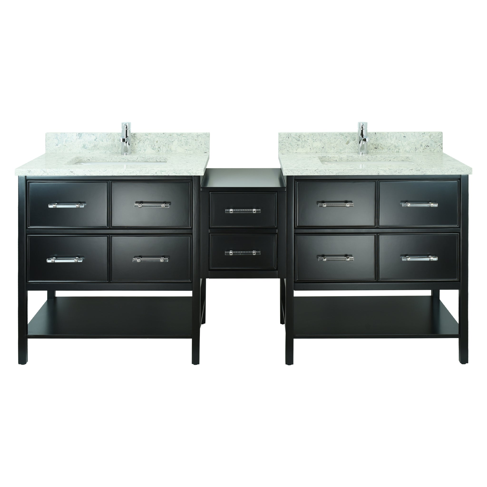 "86"" Black Gemma Vanity with Topaz Quartz"