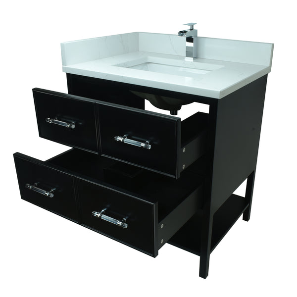 "30"" Black Gemma Vanity with Classic Calcutta Quartz"