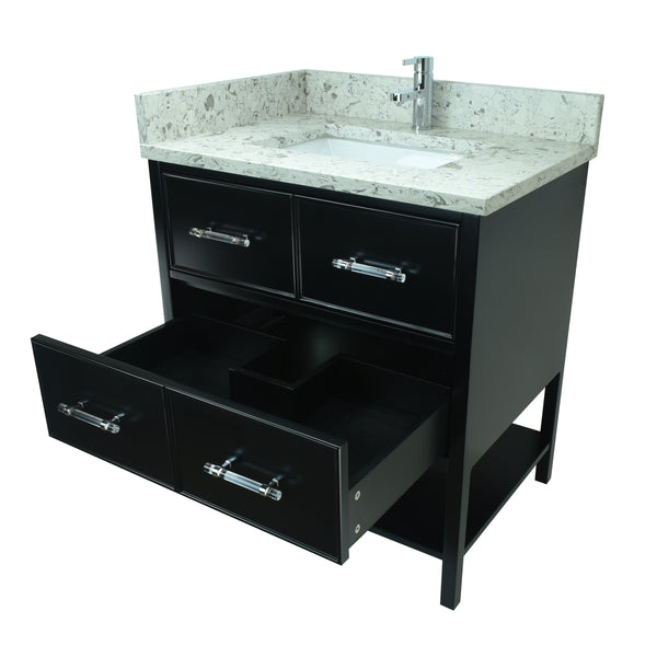 "30"" Black Gemma Vanity with Milky Way Quartz"