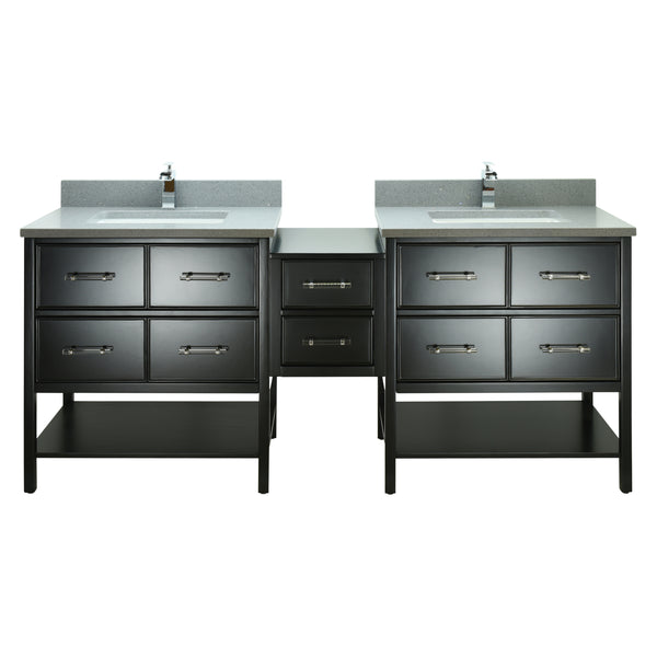 "86"" Black Gemma Vanity with Crystal Grey Quartz"