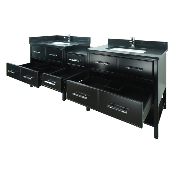 "74"" Black Gemma Vanity with Moonlight Black Quartz"