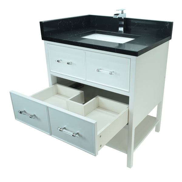 "30"" White Gemma Vanity with Moonlight Black Quartz"