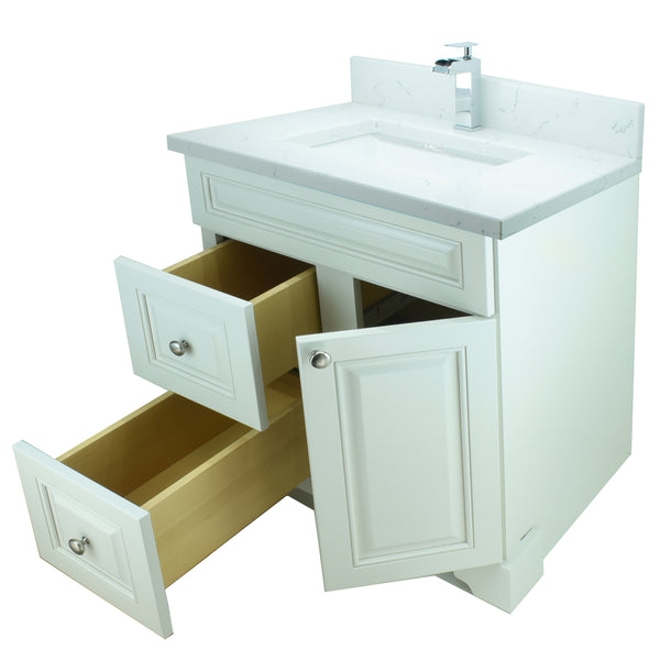 "36"" Antique White Damian Vanity with Carrera Quartz"