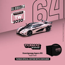 Load image into Gallery viewer, Preorder : Tarmac Works 1:64 Scale Koenigsegg Agera RS Taiwan Gold Exclusive with Container ~ ETA : Oct 2020