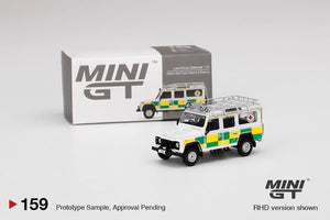 Preorder ~ MINI GT 1/64 Land Rover Defender 110 British Red Cross Search & Rescue USA Blister Packaging MJ Exclusive 159 - ETA : Jun 2021