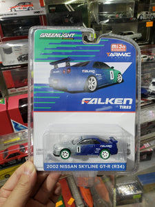 Greenlight 1/64 Tarmac Mijo 2002 Nissan Skyline GT-R R34 Falken Tires Green Machine Chase