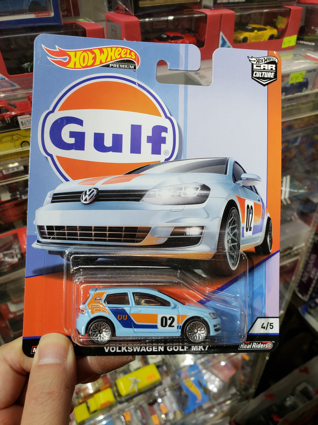 Hot Wheels 1/64 Car Culture Real Riders Gulf Volkswagen Golf MK7