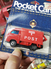 Load image into Gallery viewer, 1986 Tomy Pocket Cars Tomica Japan Subaru Sambar Post Mint Package No 31 Red