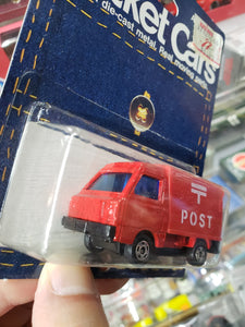 1986 Tomy Pocket Cars Tomica Japan Subaru Sambar Post Mint Package No 31 Red