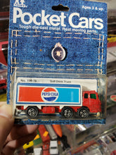 Load image into Gallery viewer, Tomica Tomy Pocket Cars Made in Japan 1974 No. 198-76 Pepsi-Cola Truck on Card
