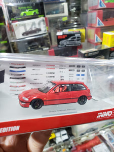 Inno64 1990 Honda Civic EF9 SiR Red Japan Special Edition In64-EF9-REDJS