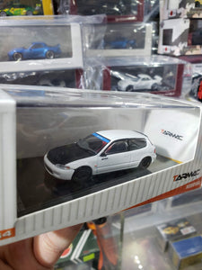 Tarmac Works 1/64 Honda Civic EG6 Gr.A Racing White with Carbon Hood
