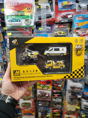 Tiny 1/64 Hong Kong Automobile Association BMW Motorcycle Mercedes Benz Sprinter Hino 300 Tow Truck 3 Pack