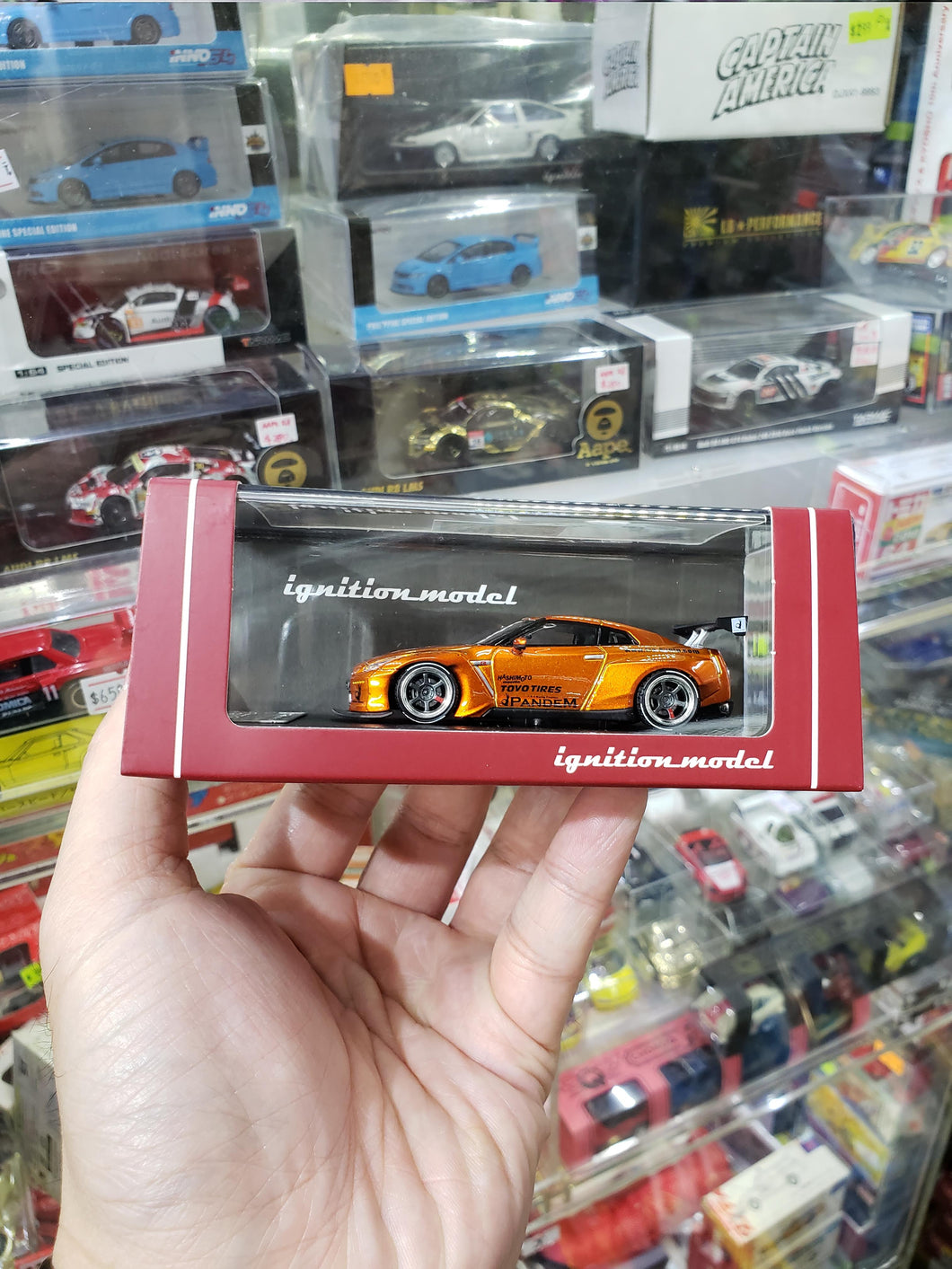 Tarmac Works x ignition ig 1/64 Pandem TRA Racing Nissan GT-R Orange 1599 Malaysia Expo ( Free Shipping Worldwide )