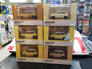 Tiny City Diecast - Set of 6 Mini Cooper X Pantone Set (Yellow) ~ Free Shipping Worldwide !!!