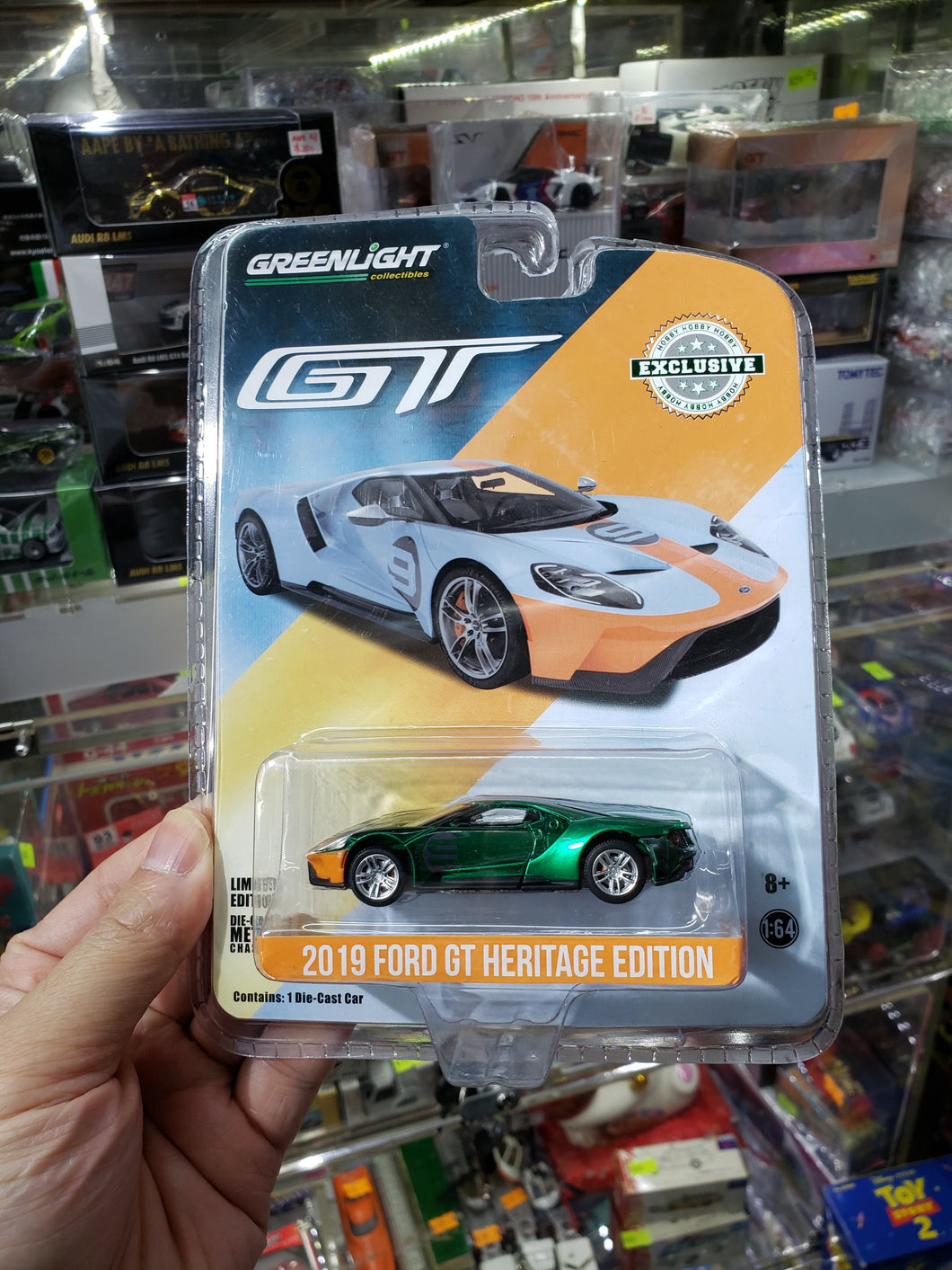 GREENLIGHT GREEN MACHINE 1/64 2019 FORD GT HERITAGE EDITION #9 GULF RACING 29909 Brand New Chase Greenie