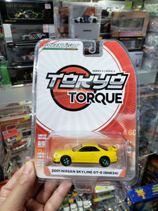 Greenlight 1:64 LTD Diecast Tokyo Torque 2001 Nissan Skyline GT-R BNR34 Yellow Green Machine Greenie Chase