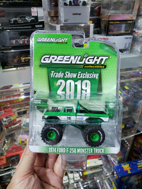 GREENLIGHT 1/64 TRADE SHOW EXCLUSIVE GREEN MACHINE 1974 FORD F-250 MONSTER TRUCK