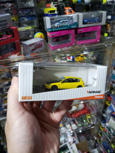 Tarmac Works 1/64 Honda Civic eg6 Yellow with Carbon Hood