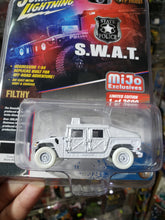 Load image into Gallery viewer, Johnny Lightning 1/64 Police S.W.A.T. Humvee White Lightning Chase Car JLCP7159