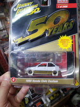Load image into Gallery viewer, Johnny Lightning 1/64 #4 1998 Honda Civic Custom White Lightning Chase