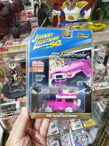 Johnny Lightning Mijo Exclusive Gold Chase Edition 1980 Toyota Land Cruiser White Lightning Chase Pink