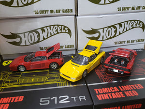 Set of 3 Tomica Limited Vintage Neo 1/64 Ferrari 512 TR Red & Yellow and Testarossa Red