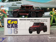 Load image into Gallery viewer, EraCar 06 1/64 Mercedes Benz G63 Amg 6x6 Red & Black