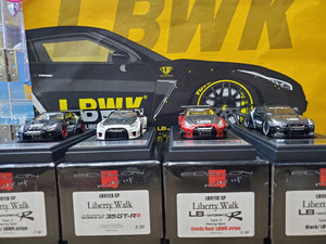 Set of 4 Make Up 1/43 Liberty Walk LB Works Nissan R35 Candy Red / LBWK Stripe + Black LBWK Stripe + Black / LBWK Stripe + GTRR White