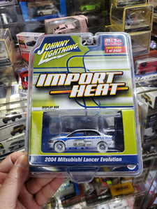 Johnny Lightning 1/64 Mijo Import Heat 2004 Mitsubishi Lancer Evolution White Lightning Chase