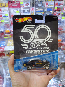 Hot Wheels 1/64 50th Anniversary 55 Chevy Bel Air Black Gasser Kroger Real Riders