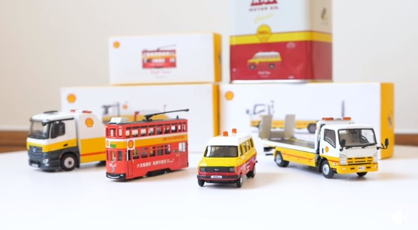 Set of 4 Wave 2 Tiny x Shell 1/120 Hong Kong Tramway + 1/76 Mercedes Benz Antos Tow Truck + 1/76 Isuzu N Series Flatbed Tow Truck + 1/76 Ford Transit Mk2 60s with Oil Can Container ( Free Shipping Worldwide )