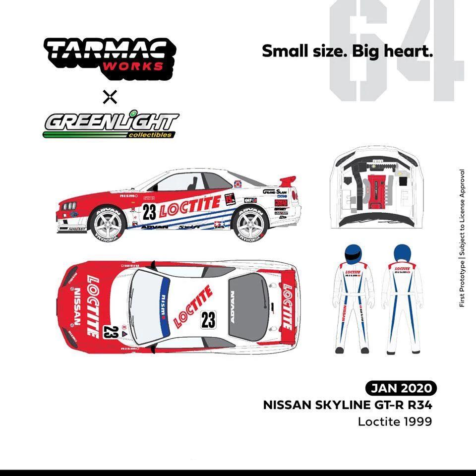 Pre-Order: Tarmac Works x Greenlight 1:64 Nissan Skyline R34 Loctite 1999 ~ ETA : Feb 2020