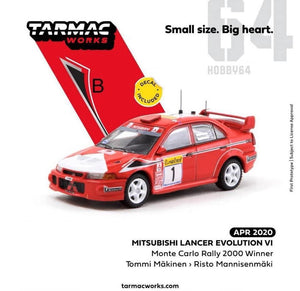 Preorder ~ Tarmac Works 1/64 Mitsubishi Lancer Evolution VI Monte Carlo Rally 2000 Winner Tommi Makinen Risto Mannisenmaki ETA : April 2020