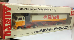 TOMICA DANDY HINO SEMI TRAILER SHELL PETROL TANK LORRY SCALE 1/60