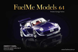 Preorder ~ FuelMe 1/64 Porsche 993 RWB Army Girl Resin Made Model ETA : TBA