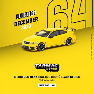 Preorder - Tarmac Works 1/64 Global64 Mercedes-Benz C 63 AMG Coupé Black Series Yellow Metallic - Release Date : Dec 2020