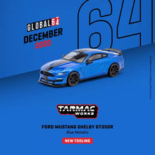 Load image into Gallery viewer, Tarmac Works 1/64 Ford Mustang Shelby GT350R Blue Metallic