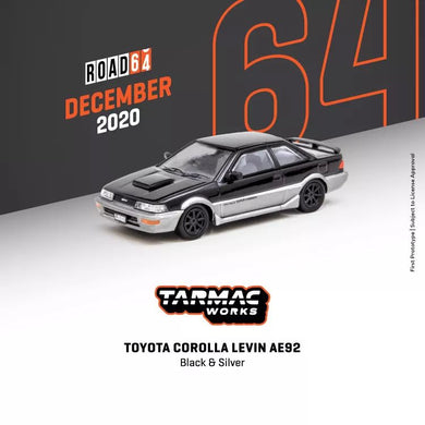 Preorder - Tarmac Works 1/64 Toyota Corolla Levin (AE92) Black / Grey - Release Date : Dec 2020