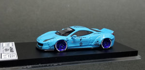 Veloce Ferrari 458 LB Performance Pearl Light Blue #2 Resin Hand made Scale 1:64