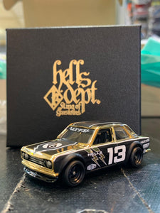 Hot Wheels Custom Datsun 510 Bluebird Hells Dept 18 Karat Rolled Gold Plated