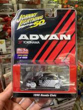Load image into Gallery viewer, Johnny Lightning 1/64 Advan Yokohama Mijo Exclusive 1998 Honda Civic White Lightning Chase