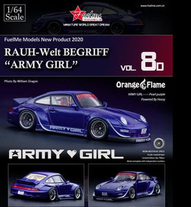 Preorder -  Fuelme 1/64 RWB 993 Army Girl Pearl Purple Orange Flame Special Wing Limited 799 Pcs Release Date : Nov 2020