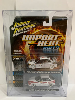 Johnny Lightning White Lightning Import Heat Rally 2004 Mitsubishi Lancer Evolution 2000 Honda Civic Hatchback (#Y)