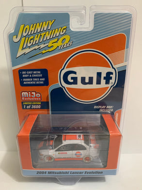 Johnny Lightning 50 Years White Lightning Mijo Exclusives Gulf 2004 Mitsubishi Lancer Evolution (#Y)